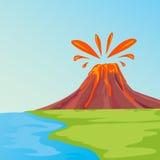 Тропический остров в океане с пальмами и вулканом Стоковое Изображение