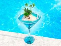 Тропический остров в форме сердца в стекле coctail бесплатная иллюстрация
