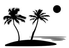 Тропический остров моря с пальмами и цветками, солнцем черные силуэты и контуры на белой предпосылке Плоский дизайн Стоковое Изображение