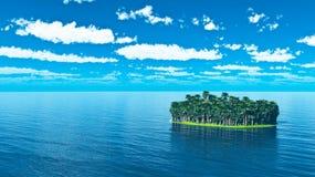 Тропический остров с пальмами Стоковая Фотография RF