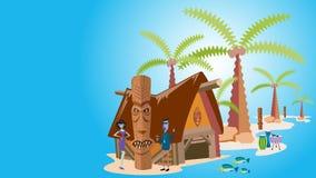 Тропический остров с пальмами, иллюстрация вектора Стоковое Изображение