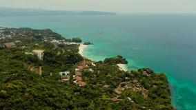 Тропический остров с песчаным пляжем, Boracay, Филиппинами акции видеоматериалы