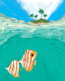 Тропический остров с подводным взглядом иллюстрация штока