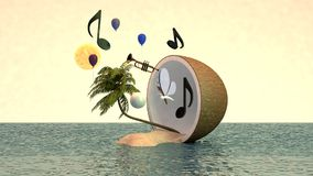 тропический остров 3d в кокосе Стоковые Изображения