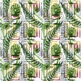 Тропический папоротник выходит картина в стиль акварели бесплатная иллюстрация