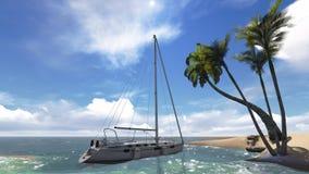 Тропический пейзаж с яхтой Стоковая Фотография RF