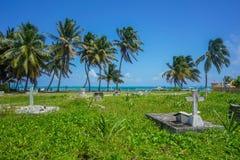 Тропический песчаный пляж карибского моря рая Стоковое Изображение