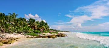 Тропический песчаный пляж на карибском море Мексика Стоковое Изображение RF