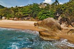 Тропический пляж бухты коралла утеса с пальмами кокоса Koh Samu Стоковое Изображение RF