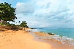 Тропический пляж с желтым песком, лазурным океаном и зелеными деревьями Стоковые Изображения