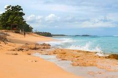 Тропический пляж с желтым песком, лазурным океаном и зелеными деревьями Стоковые Фото