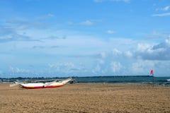 Тропический пляж с пальмой Стоковая Фотография RF