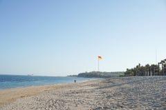 Тропический пляж Jimbaran на солнечном дне с пальмами стоковое изображение rf