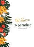 Тропический плакат вектора с тропическими листьями и цветками Стоковые Изображения