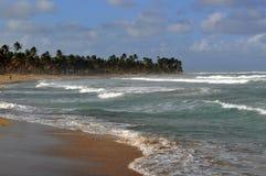 Тропический пляж с грубым прибоем Стоковые Фотографии RF