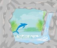Тропический рай острова с перескакивать дельфин иллюстрация вектора