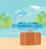 Тропический рай острова с перескакивать дельфин иллюстрация штока