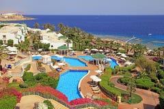 Тропический роскошный курортный отель, Sharm El Sheikh, Египет Стоковые Фотографии RF