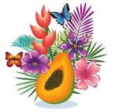 Тропический сад с папапайей иллюстрация вектора