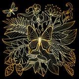 Тропический состав золота Стоковое фото RF