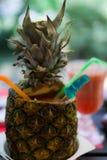 Тропический фруктовый сок в ананасе Стоковые Изображения
