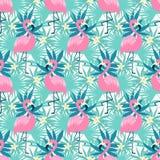 Тропический фламинго безшовный Стоковая Фотография