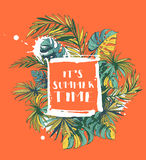Тропический флористический плакат партии лета с Palm Beach выходит colo Стоковые Фотографии RF
