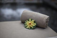 Тропический цветок украшает интерьер массажного кабинета Стоковое Изображение