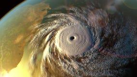 Тропический циклон над поверхностью земли s, 3D анимация иллюстрация вектора