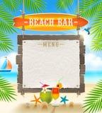 Тропический шильдик бара пляжа Стоковые Фотографии RF