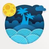 Тропический шторм в океане с большими волнами в бумажном стиле вектор иллюстрация штока