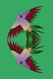 Тропическим дублирование птицы отраженное попугаем бесплатная иллюстрация