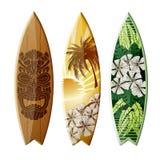 Тропическое изолированное искусство Surfboard Стоковые Фотографии RF