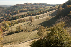 Тропка гор в осени Стоковая Фотография