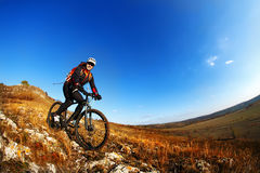 тропка 2 riding людей природы гор здорового уклада жизни велосипедиста bike угла живущая осматривает широко Стоковое фото RF