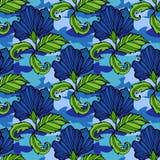Троповые цветки на предпосылке камуфлирования вектор картины безшовный Иллюстрация цветка Camo тропическая Для вашей сети стоковая фотография rf
