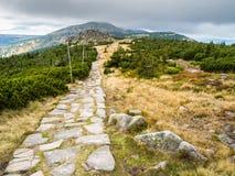 Тропы горы в Krkonose или гигантских горах Стоковое Изображение