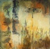 тростники картины средств dragonfly смешанные стоковые изображения rf