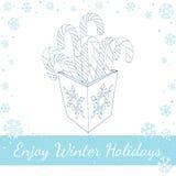 Тросточка конфеты рождества в коробке Линия искусство вектора Стоковое Фото