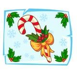 Тросточка конфеты рождества и ягода падуба в льде иллюстрация вектора