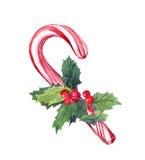Тросточка конфеты рождества с омелой акварель Стоковое Изображение RF