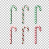 Тросточка конфеты установленная на прозрачную предпосылку Элемент Christmass вектора бесплатная иллюстрация