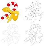 Тросточка конфеты шаржа рождества Точка для того чтобы поставить точки игра для детей бесплатная иллюстрация