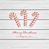 Тросточка рождества на деревянной предпосылке Стоковое Изображение RF