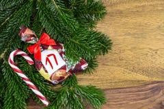 Тросточка сумки и конфеты рождества Стоковая Фотография