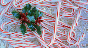 Тросточки конфеты и лист падуба Стоковое Фото