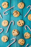 Тросточки печений обломока шоколада & конфеты рождества Стоковое Фото