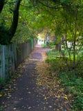 Тротуар вдоль старой обнести осень Стоковая Фотография RF