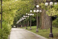 Тротуар выровнянный с валами и светильниками Стоковые Изображения