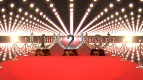 Трофеи на красном ковре с видео светов иллюстрация штока